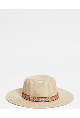 Mavi Kadın Ponponlu Hasır Şapka