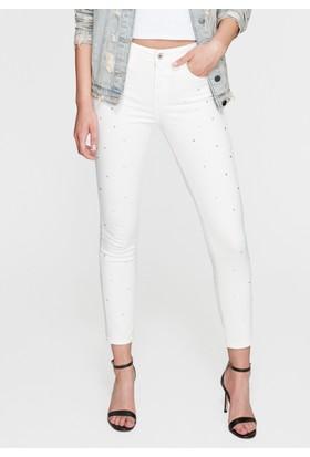 Mavi Tess Parılıtılı Beyaz Jean Pantolon