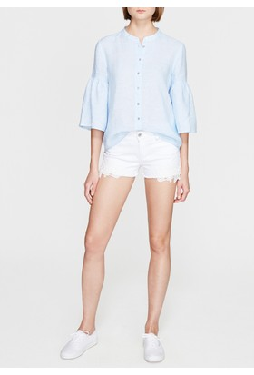 Mavi Kadın Tiffany Beyaz Dantel Detaylı Jean Sort