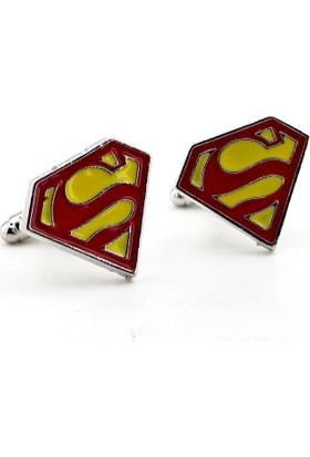 Solfera Dc Comıcs Superman Logo Sarı Kırmızı Kol Düğmesi Cx185
