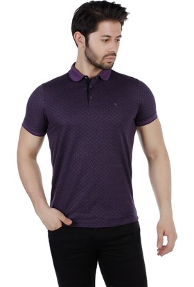 Brango 40170-1 Desenli Polo Yaka Mor Tshirt