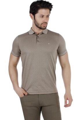 Brango 40170-4 Desenli Polo Yaka Kahverengi Tshirt