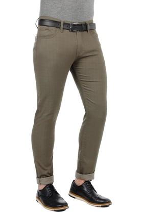 Brango 55136-4 Dar Kesim Kendinden Desenli Yeşil Pantolon