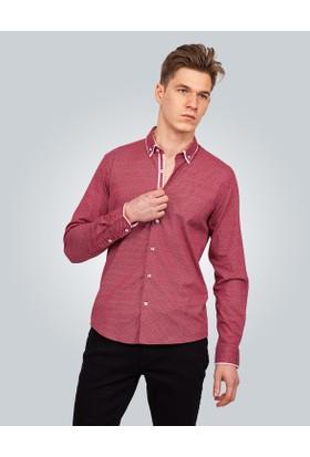 Tudors Baskılı Bordo Erkek Gömlek 12211