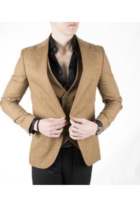 DeepSEA Hardal Sarısı Tek Düğmeli Kırçıllı Desen Erkek Ceket Yelek Takım 1860201