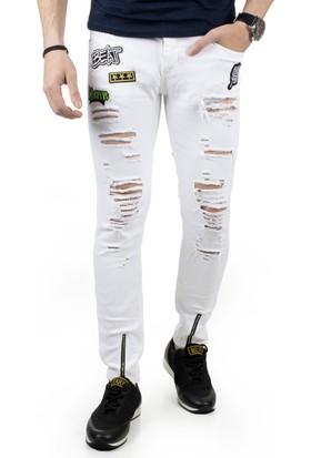 DeepSEA Beyaz Paçası Fermuarlı Önü Armalı Yırtık Erkek Kot Pantolon 1805005