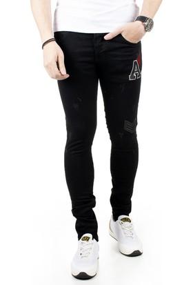 DeepSEA Siyah Önü Armalı Yıpratmalı Likralı Erkek Kot Pantolon 1805009