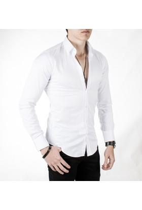 DeepSEA Beyaz Yüksek Yaka Dar Kesim Pamuk Saten Erkek Gömlek 1703110