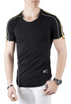 DeepSEA Siyah Kolları ve Eteği Fermuar Detaylı Likralı Erkek Tişört 1810869