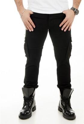 DeepSEA Siyah Cepleri Çıtçıtlı Fermuarlı Paçası Lastikli Slimfit Kargo Pantolon 1801563