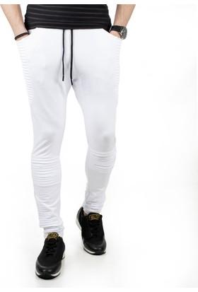 DeepSEA Beyaz Yanları Pileli Dizleri Lazer Kesim Erkek Eşofman Altı 185094