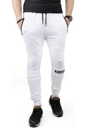 DeepSEA Beyaz Önü Pileli Paçası ve Beli Lastikli Cepleri Fermuarlı Erkek Eşofman Altı 1850122
