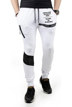 DeepSEA Beyaz Yanları Şeritli Dizleri Kapitoneli Baskılı Erkek Eşofman Altı 1850145