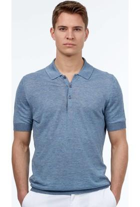 Hemington Erkek Mavi Keten Triko Polo T-Shirt