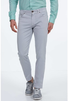 Hemington Erkek Gri Slim Fit Kanvas Pantolon
