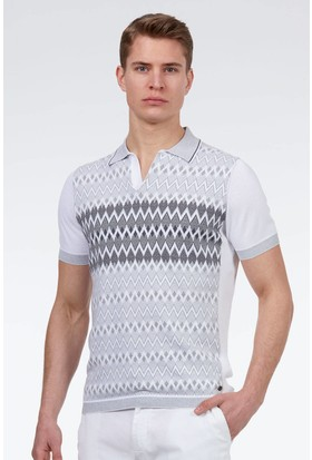 Hemington Erkek Gri Beyaz Giza Pamuk Desenli Triko Polo T-Shirt