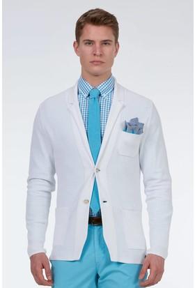 Hemington Erkek Beyaz Yazlık Triko Ceket
