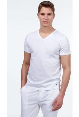 Hemington Erkek Beyaz V Yaka Basic T-Shirt