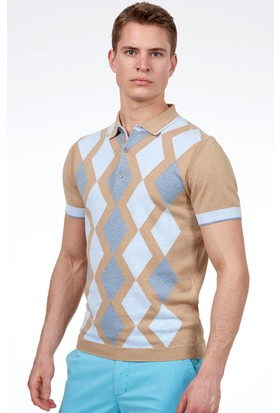 Hemington Erkek Camel Baklava Desen Triko Polo T-Shirt