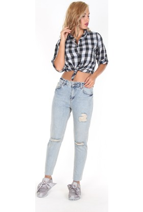 Moda Rota T-Utica228 Bayan Boyfriend Yırtık Diz Pantolon