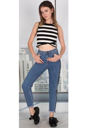 Moda Rota Ynr542952 Yan Şeritli Bayan Mom Pantolon