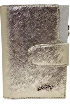 Ollbag 1043 Parlak Gümüş Deri Kadın Cüzdanı