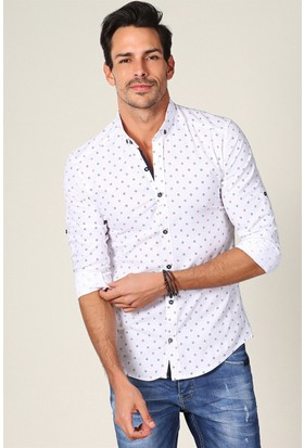 Philip Loren Beyaz Desenli Gömlek JP18B07R03