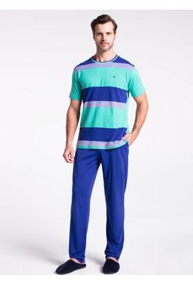 Dagi Erkek 3'Lü Pijama - Şort Takımı Saks - Yeşil