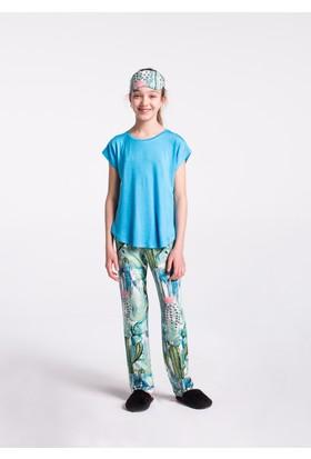 Dagi Kız Çocuk 3'Lü Pijama - Şort Takımı Mavi