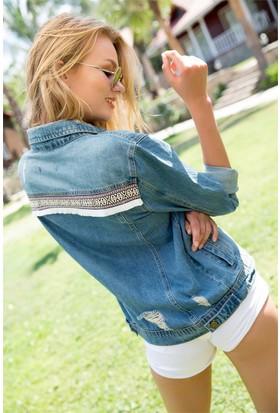 ZDN Jeans Kadın Denim Arkası Nakışlı Boyfriend Ceket M11