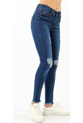 ZDN Jeans Yüksel Bel Yırtık Skinny Mavi Jean W708
