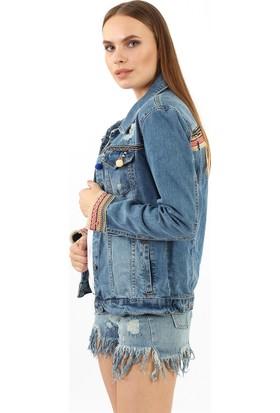 ZDN Jeans Kadın Nakışlı Kuş Tüylü Mavi Denim Ceket M11