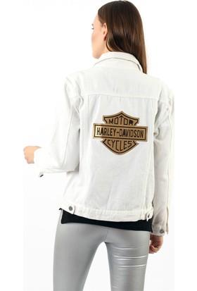 ZDN Jeans Kadın Beyaz Harley Davidson Denim Ceket M11