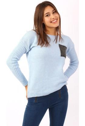 ZDN Jeans Kadın Mavi Triko Kazak T3801