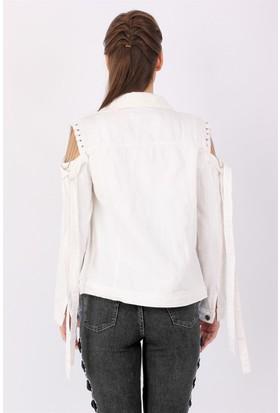 ZDN Jeans Kadın Beyaz Kol Zincirli Denim Ceket M15