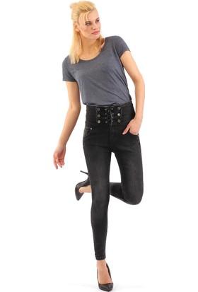 ZDN Jeans Kadın Yüksek Bel Antrasit Skinny Jean W1133