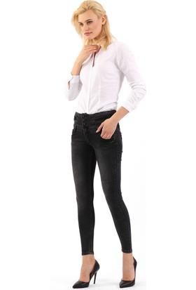 ZDN Jeans Kadın Yüksek Bel Antrasit Skinny Jean W1137