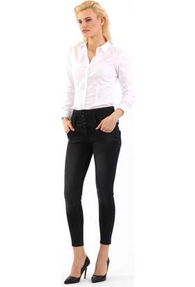 ZDN Jeans Kadın Normal Bel Antrasit Skinny Jean W1123