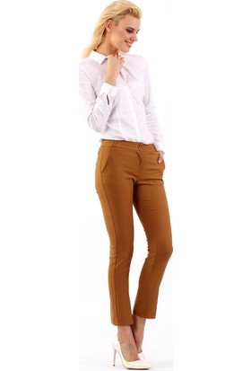 ZDN Jeans Kadın Düşük Bel Hardal Pantolon G007