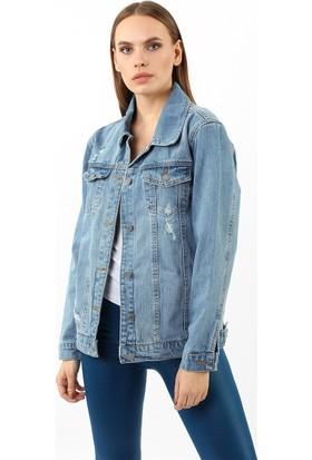 ZDN Jeans Kadın Açık Mavi Denim Ceket M11