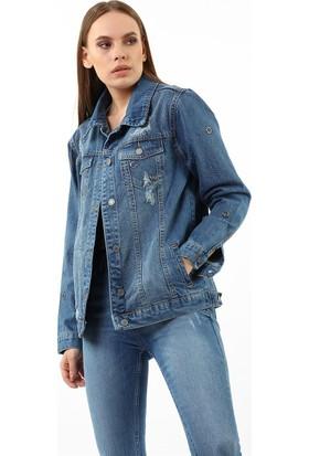 ZDN Jeans Kadın Orta Mavi Taş İşlemeli Denim Ceket M11