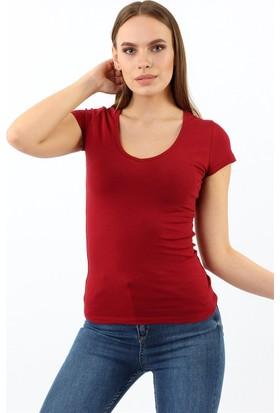 ZDN Jeans Kadın Bordo Tshirt R926