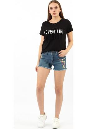 ZDN Jeans Kadın Koyu Mavi Denim Şort W-S-030