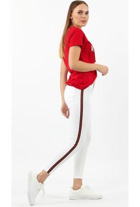 ZDN Jeans Kadın Yüksek Bel Şeritli Beyaz Skinny Jean W567Ş