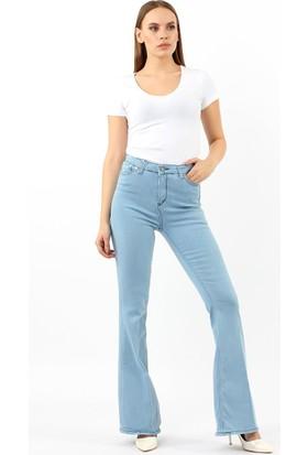 ZDN Jeans Kadın Yüksek Bel Açık Mavi İspanyol Paça Jean W737