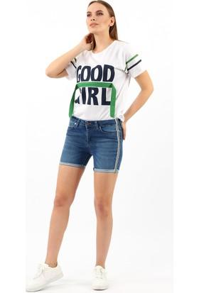 ZDN Jeans Kadın Orta Mavi Denim Şort W1040