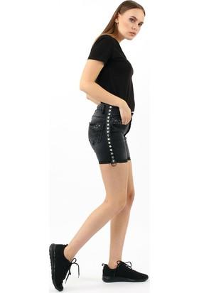 ZDN Jeans Kadın Yıldız Şeritli Siyah Denim Şort W-RS-05