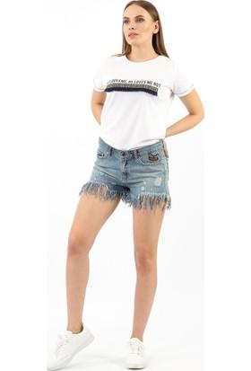 ZDN Jeans Kadın Püsküllü Orta Mavi Denim Şort W-S-05