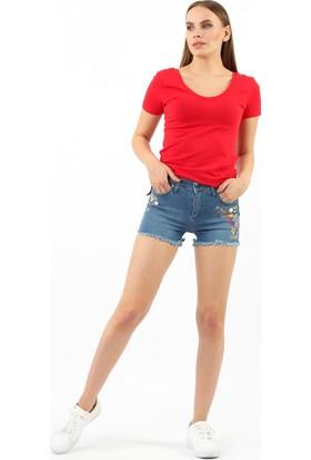 ZDN Jeans Kadın Orta Mavi Denim Şort W-S-030