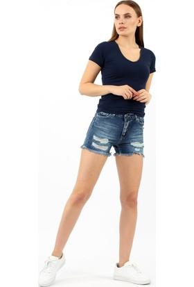 ZDN Jeans Kadın Orta Mavi Denim Şort W-S-034